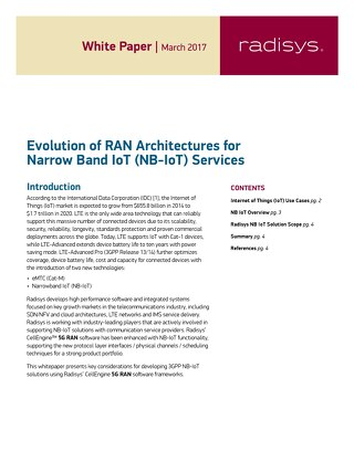Evolution of RAN Architectures for Narrow Band IoT (NB-IoT) Services