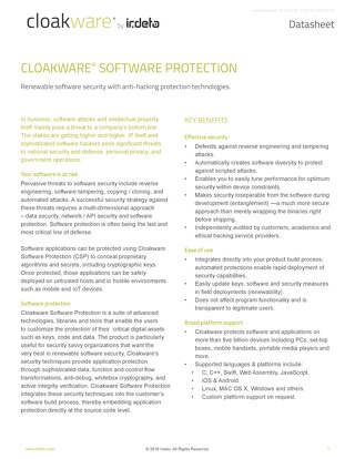Datasheet: Cloakware Software Protection