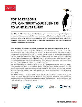 TOP 10 REASONS YOU CAN TRUST YOUR BUSINESS TO WIND RIVER LINUX