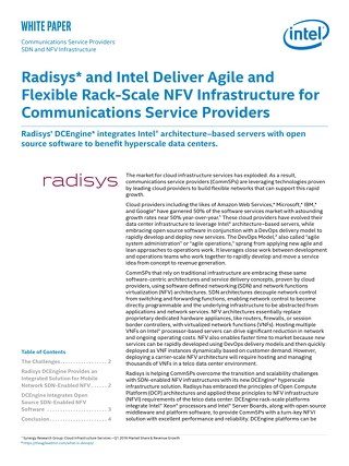 Radisys and Intel Deliver Agile and Flexibe Rack-Scale NFV Instructure for CSPs