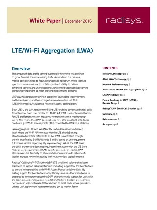LTE/Wi-Fi Aggregation (LWA)