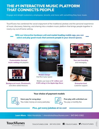TouchTunes Jukebox Product Sheet