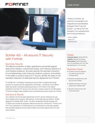 Schiller AG Gets an All-around IT Security with Fortinet