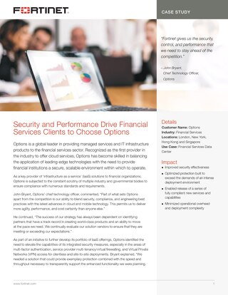 Security and Performance Drive Financial Services Clients to Choose Options
