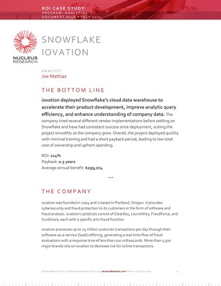 ROI Case Study: iovation Deploys Snowflake's Cloud Data Warehouse