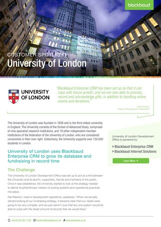 University Of London | Blackbaud CRM