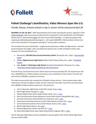 News Release: Follett Challenge's Semifinalists, Video Winners Span the US