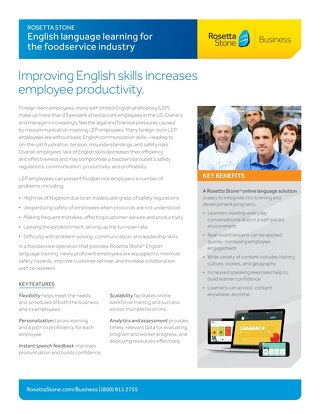 English Language Learning for the Foodservice Industry
