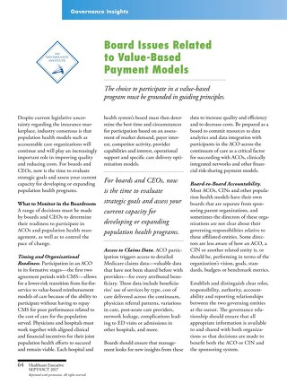 Governance Insights - Board Issues Related to Value-Based Payment Models