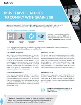 Must Have Features To Comply with Spain SII