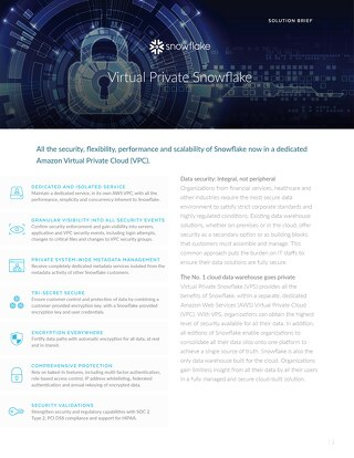 Virtual Private Snowflake Solution Brief