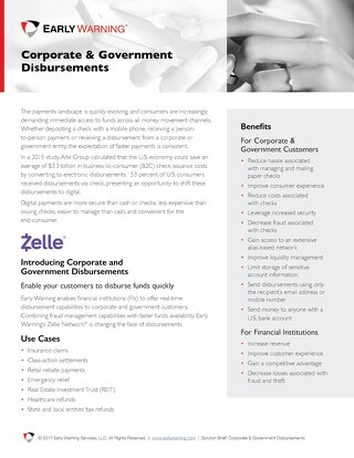 Zelle - Corporate & Government Disbursements Product Brief