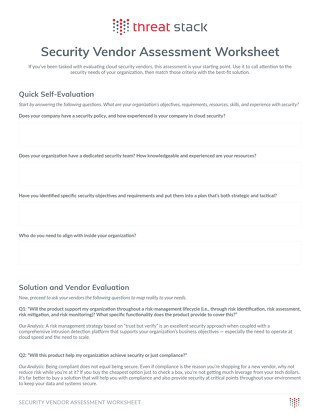 Security Vendor Assessment Worksheet