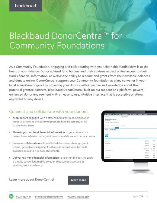 Blackbaud DonorCentral datasheet