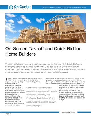 Takeoff and Estimating for Home Builders