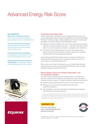 Advanced Risk Score for Utilities