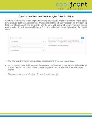Coolfront Mobile New Search Engine