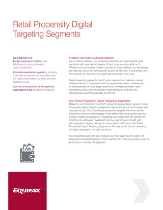 Retail Propensity Digital Targeting Segments