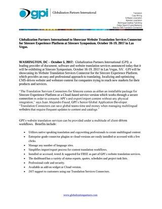 GPI to Showcase Translation Connector at Sitecore Symposium