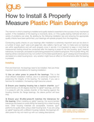 How to Install and Quality Test Plastic Plain Bearings