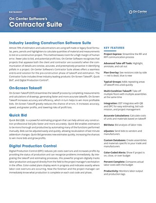 Datasheet: Contractor's Suite