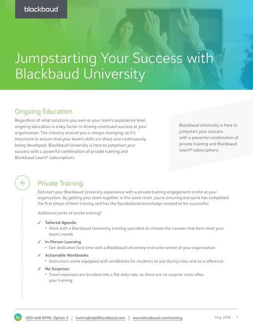 Jumpstart Your Success with Blackbaud University