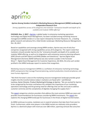 Aprimo Among Vendors Included in Marketing Resource Management (MRM) Landscape by Independent Research Firm