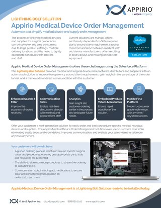 Medical Device Order Management - Lightning Bolt Solution