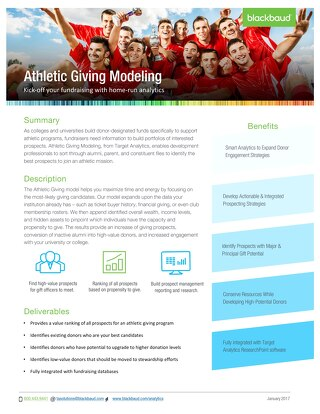Athletic Giving Datasheet 2017