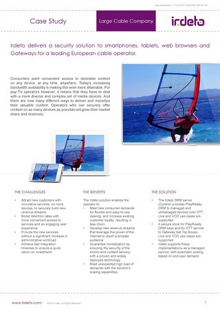 Case study: DRM server for European cable operator
