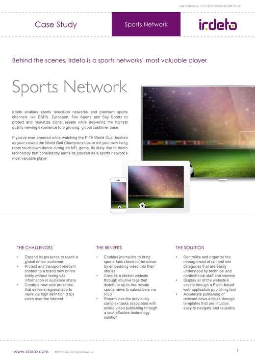Case study: Irdeto protects live sports video for popular sports network