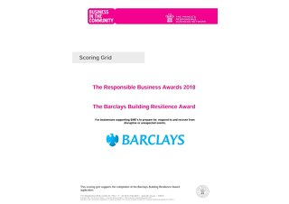 The Barclays Building Resilience Award Scoring grid 2018