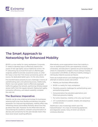 The Smart Approach to Networking for Enhanced Mobility