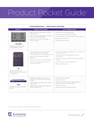 Extreme Networks Product Pocket Guide