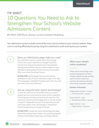 10 Questions You Need to Ask to Strengthen Your School's Website Admissions Content