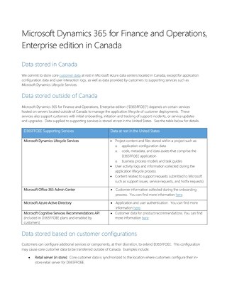 Microsoft Dynamics 365 for Finance and Operations Enterprise Edition in Canada