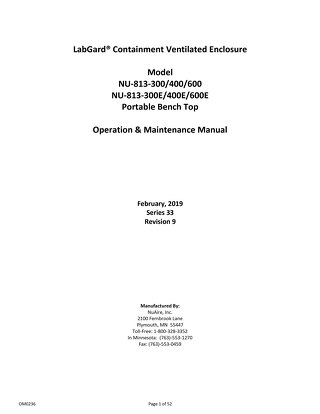 [Manual] LabGard NU-813 Containment Ventilated Enclosure (CVE)