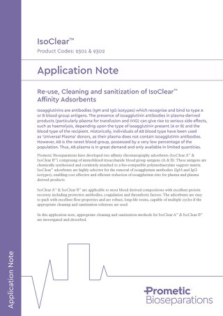 Re-use, Cleaning and Sanitisation of IsoClear Affinity Adsorbents