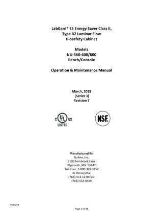 [Manual] LabGard TE NU-560 Class II, Type B2 Biosafety Cabinet