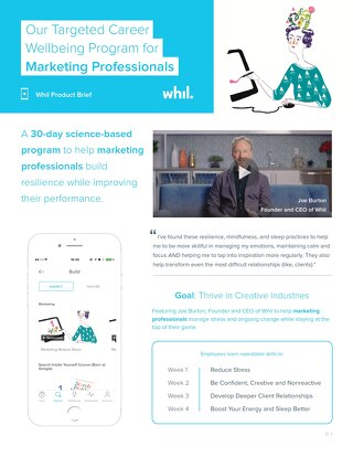 Product Brief: Our Targeted Wellbeing Program for Marketing Professionals