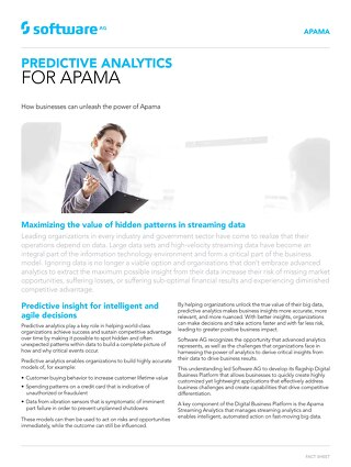 Facts about Predictive Analytics for Apama