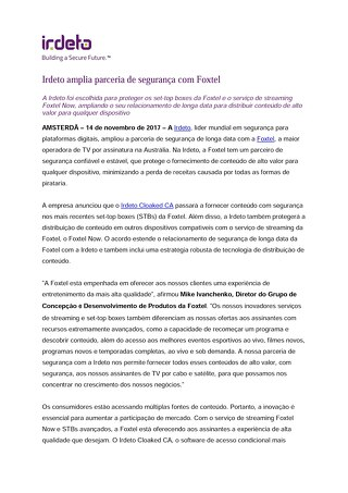 Irdeto amplia parceria de segurança com Foxtel
