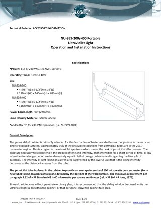 [Bulletin] NU-959 UV Light Operation and Installation Instructions