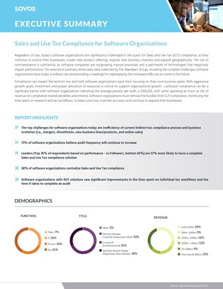 Sales and Use Tax Study for Software Organizations - Executive Summary of Aberdeen Data