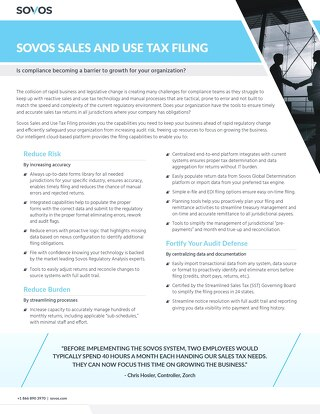 Sovos Sales and Use Tax Filing Datasheet