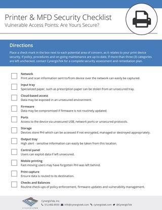 Print Device Security Checklist