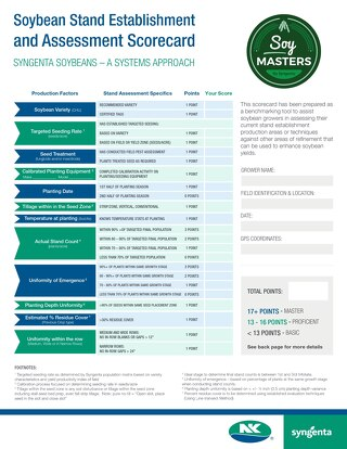 Soybean Stand Establishment and Assessment Scorecard