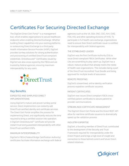 Solution Overviews - Direct Cert Portal & Certificates for Secure ...