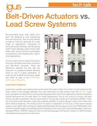 Belt-Driven Actuators vs. Lead Screw Systems
