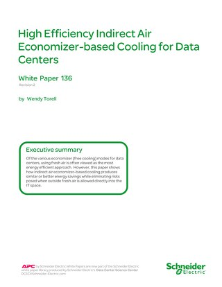 WP 136 - High Efficiency Indirect Air Economizer-based Cooling for Data Centers